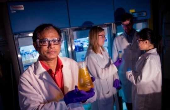 คุณ Tarun Dam  นักชีววิทยาแห่งมหาวิทยาลัยเทคโนโลยีมิชิแกน กับ สารละลายที่มีเล็กติน (lectin) เพื่อใช้ในการศึกษาความสำคัญของพันธะของชีวโมเลกุลต่างๆที่เกิดขึ้นมนร่างกายเรา , เครดิตภาพ Sarah Bird