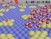 โครงสร้างรูปร่างของสารประกอบโลหะผสมระหว่างแพลตตินัมและทังสเตน  สีนำเงินคือ ทังสเตน สีเขียว คือ แพลตตินัม สีขาวคือ ไฮโดรเจน  ส่วนสีแดงคือ ออกซิเจน